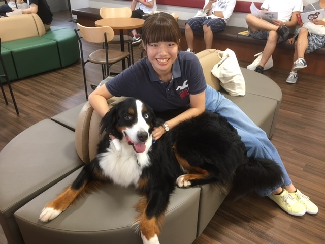 合宿免許の看板犬と可愛い女の子。